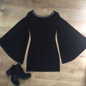 Black mini dress wide sleeves